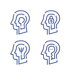 human head profile cognitive psychology vector image