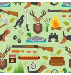 Hunting symbols seamless pattern vector image