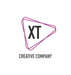 initial letter xt triangle design logo concept vector image