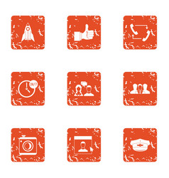 Internship icons set grunge style vector
