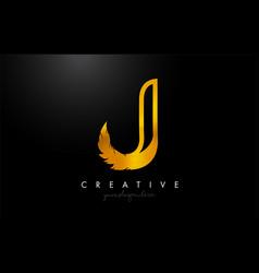 J golden gold feather letter logo icon design vector