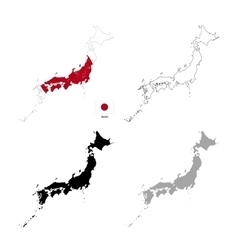 japan country black silhouette and with flag vector image