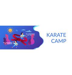Karate camp concept banner header vector