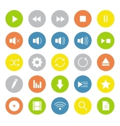 Light colors multimedia icons set vector
