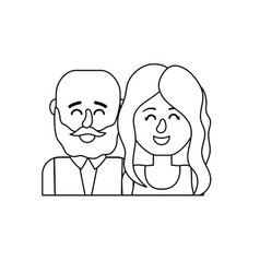 Line nice couple with hairstyle design vector