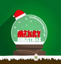 Merry Christmas text in snow globe vector image