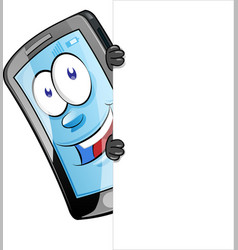 mobile phone character with blank sign clip art vector image