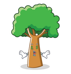 Money eye tree character cartoon style vector