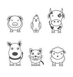 Monochrome animals vector