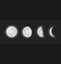 Moon phases waning or waxing crescent vector