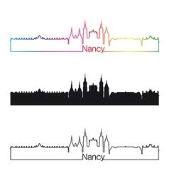 Nancy skyline linear style with rainbow vector image