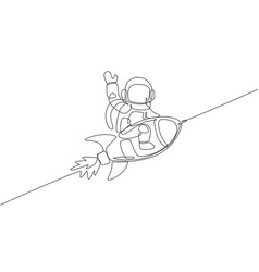 One single line drawing astronaut in spacesuit vector