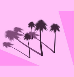 palm trees with shadow isolated on pink vector image