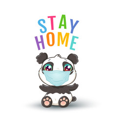 panda with medical mask vector image