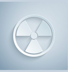 Paper cut radioactive icon isolated on grey vector