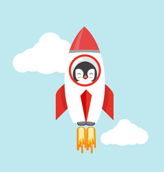 penguin with a rocket flat design vector image