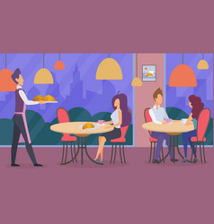 People in restaurant flat vector