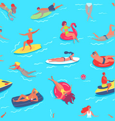 people swimming seamless pattern friends having vector image