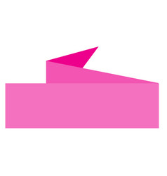 pink ribbon banner on white background pink vector image