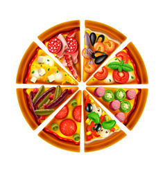 Pizza from different slices top view isolated vector