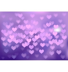 Purple festive lights in heart shape background vector image