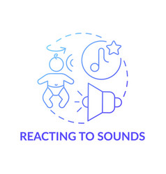 Reacting to sounds blue gradient concept icon vector