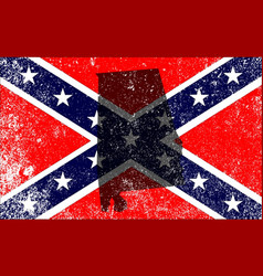 Rebel civil war flag with alabama map vector