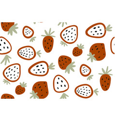 red strawberry seamless pattern with vector image