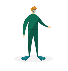 redheaded man scuba diver in green swimming suit vector image