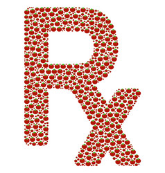 Rx symbol collage of tomato vector