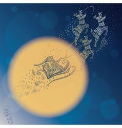 santa in night sky vector image