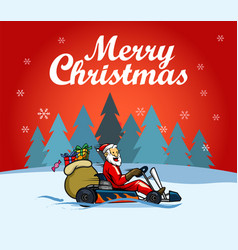 santa racer christmas greetings vector image