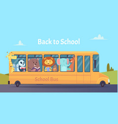 school bus zoo animals characters back to school vector image
