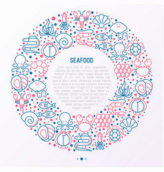 Seafood concept in circle with thin line icons vector
