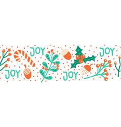 seamless christmas border hand drawn vector image