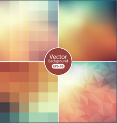 Set blurry triangle background vector