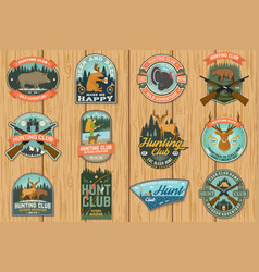 Set hunting club badge concept for vector