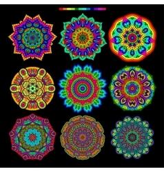 Set of 9 rainbow palette mandalas vector image