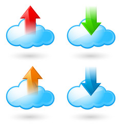 Set of cloud with arrows on white background vector