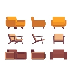 Set of retro armchairs vector image vector image