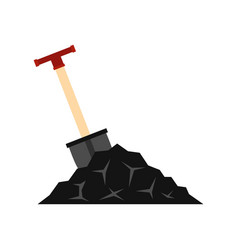 Shovel in coal icon flat style vector