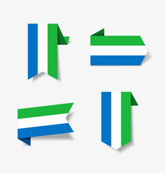 sierra leone flag stickers and labels vector image