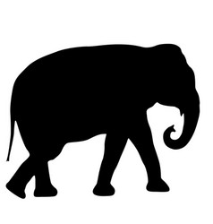 Silhouette large african elephant on a white vector