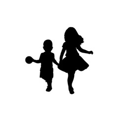 silhouettes boy and girl older sister and vector image