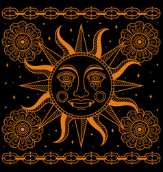 simple traditional sun tattoo vector image