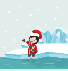 small girl with santa claus costume in north vector image