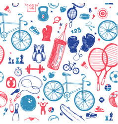 Sport sketch pattern hand drawn vector