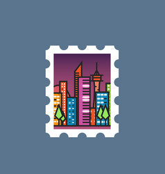 stamp with night city vector image