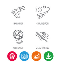 Steam ironing curling iron and hairdryer icons vector