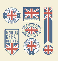 stickers tags and labels with great britain flag vector image